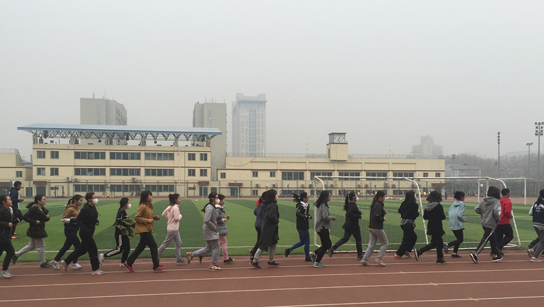 Chinese students running